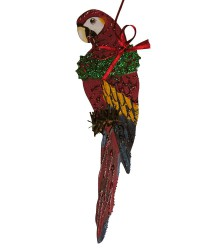 Hand Painted Scarlet Macaw Ornament