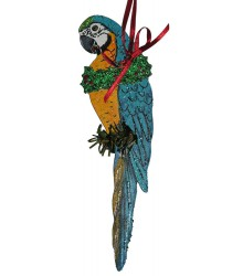 Hand Painted Blue & Gold Macaw Ornament