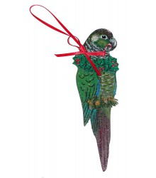 Hand Painted Green Cheek Conure Ornament