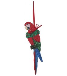 Hand Painted Greenwing Macaw Ornament